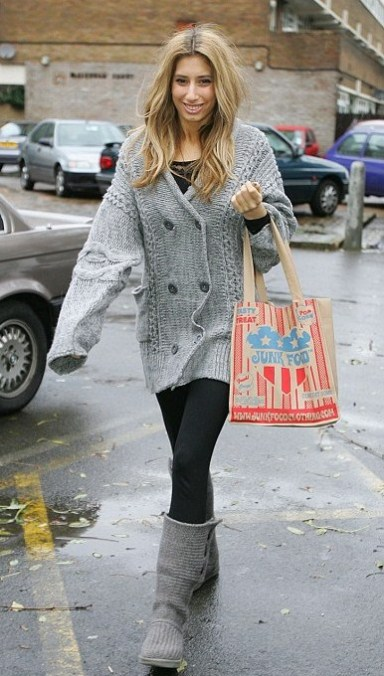 Stacey from X-factor carrying Junk Food bag