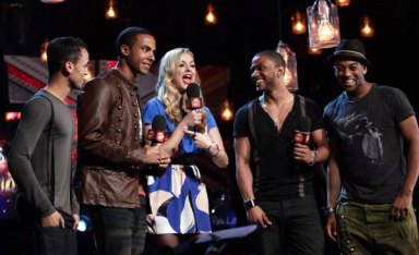 Fearne Cotton and JLS at the BRIT awards launch