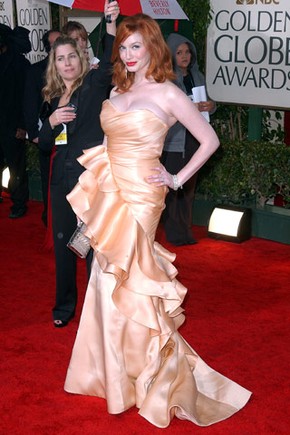 Golden Globes Christina Hendricks in Christian Siriano