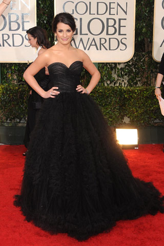 Golden Globes Lea Michele in Oscar de la Renta