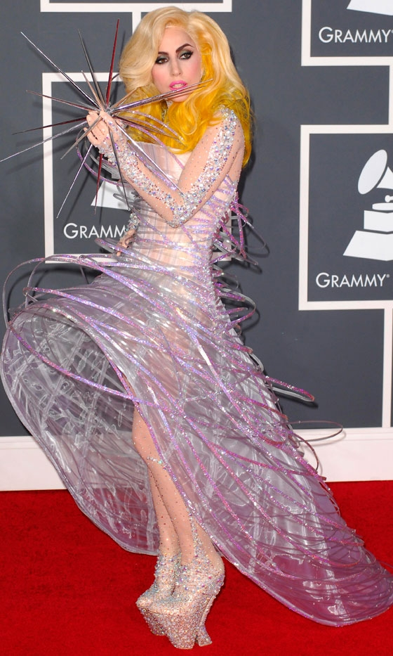 Lady Gaga Metal Dress Pictures. Lady Gaga in Armani Prive at
