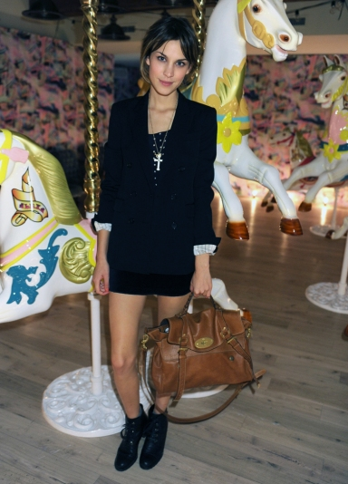 Alexa Chung at Mulberry for the launch of the Alexa bag