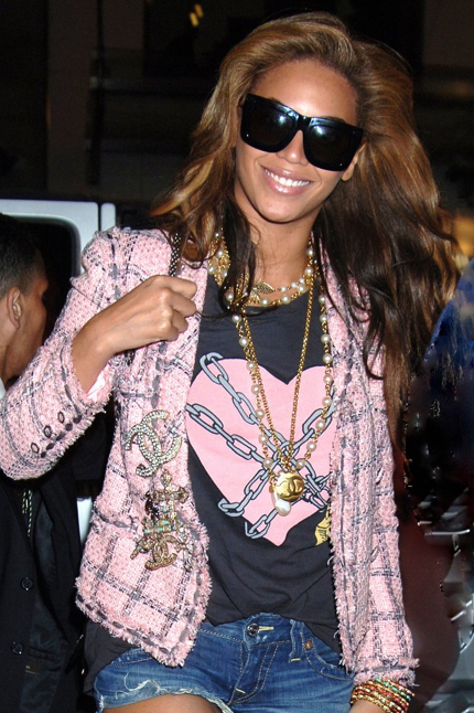 Beyonce wearing the Wildfox Open Heart Crew Neck back in April 2010