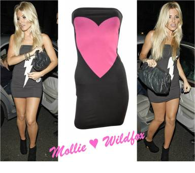 Mollie King from The Saturdays wearing wildfox tube dress