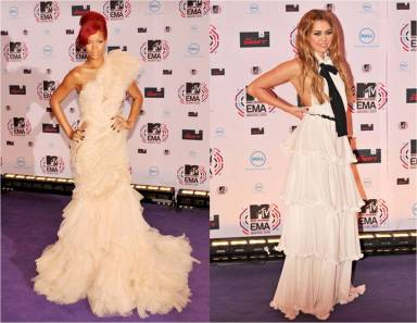 Rihanna in Marchesa and Miley Cyrus in Chanel at the MTV European Music Awards 2010