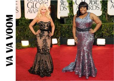 Golden Globes 2011 Christina Aguilera and Amber Riley