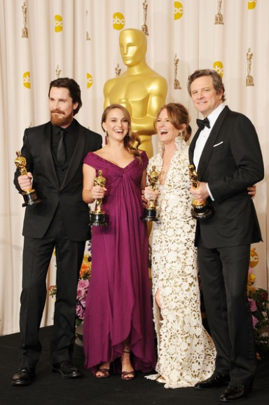 83rd+Annual+Academy+Awards+Press+Room+Christian Bale, Natalie Portman, Melissa Leo and Colin Firth