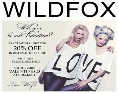 wildfox valentine's 20% off offer