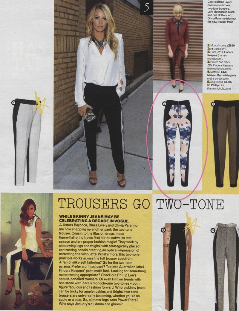 grazia - jan 22  2013 Finders Keepers Printed pants