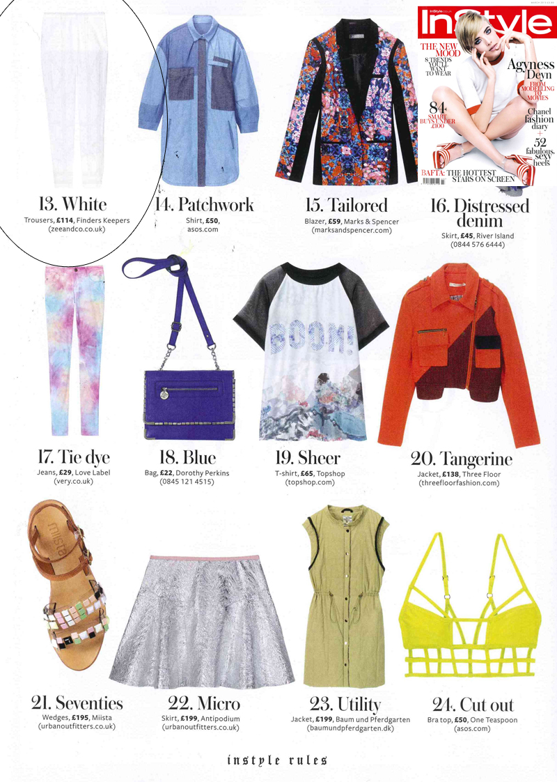 InStyle 28th Jan 2013 Finders Keepers white trousers