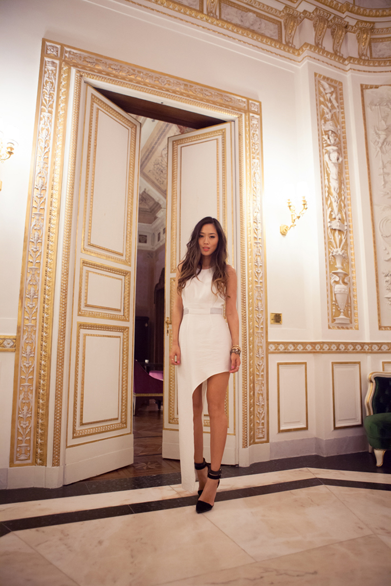 aimee song finders keepers asymmetrical white dress lake house 2