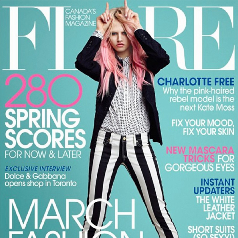 charlotte free wearing genetic denim flare magazine front cover