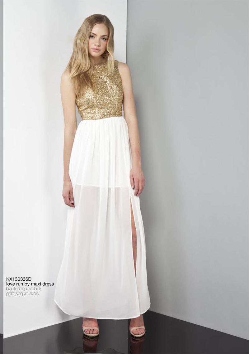 Love Run By Maxi Dress Gold White Ivory Keepsake Carousel