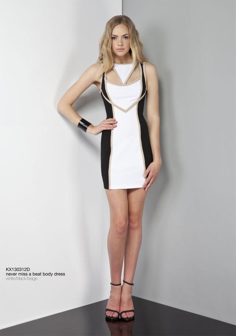 Never Miss A Beat Body Dress white black beige cutouts Keepsake Carousel