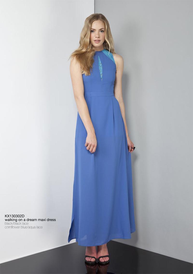 Walking On A Dream Maxi Dress cornflower blue aqua lace Keepsake Carousel