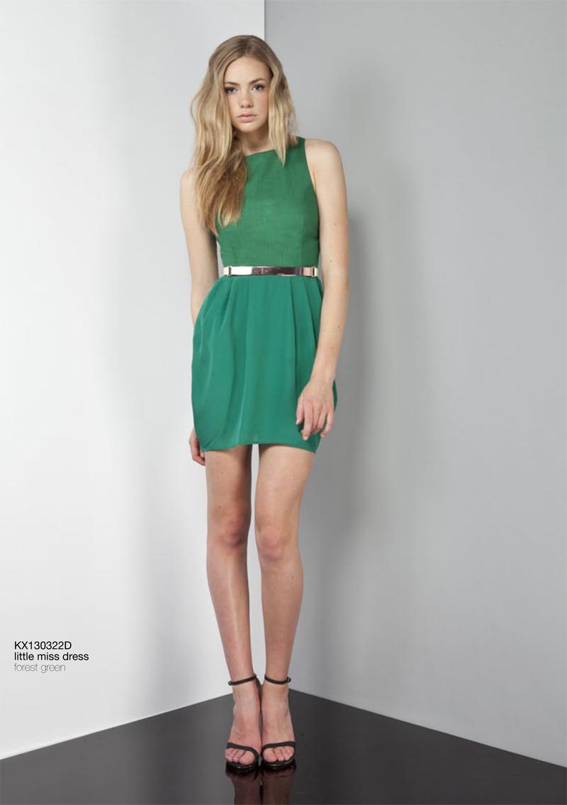 Little Miss Dress forest green Keepsake Carousel