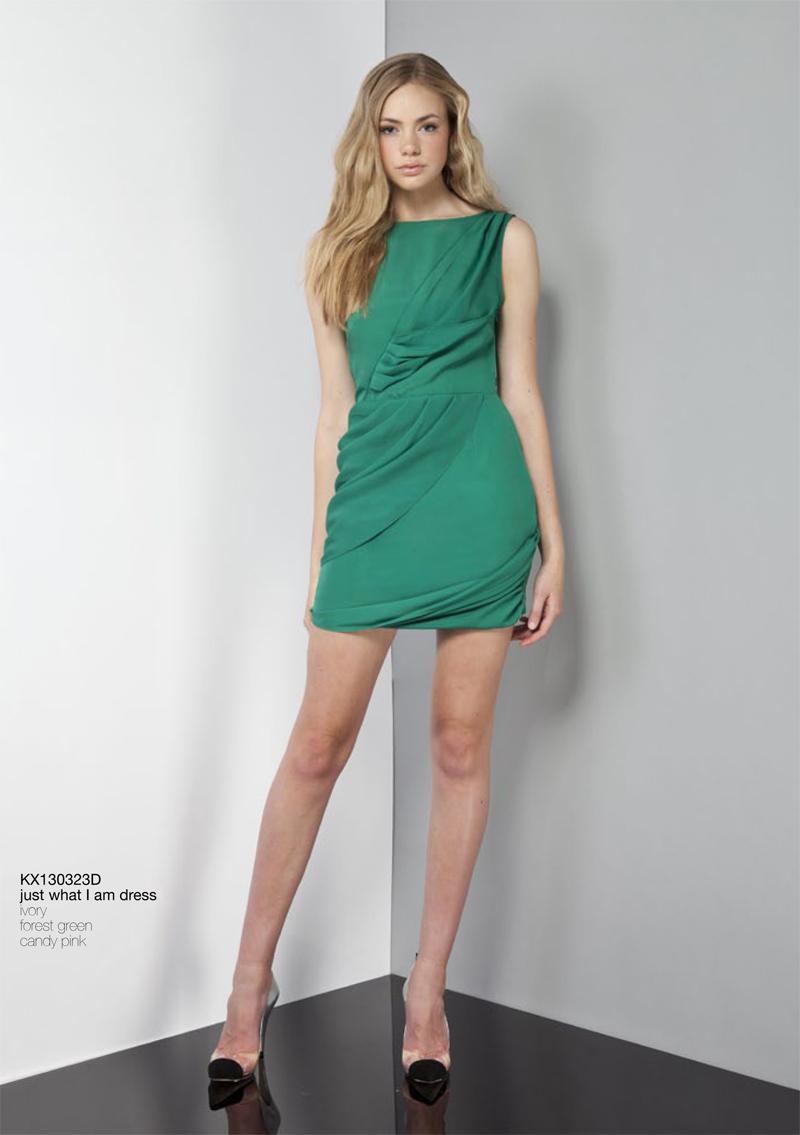 Just What I Am Dress forest green draped Keepsake Carousel