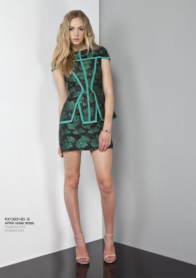 White Noise Dress emerald print Keepsake Carousel