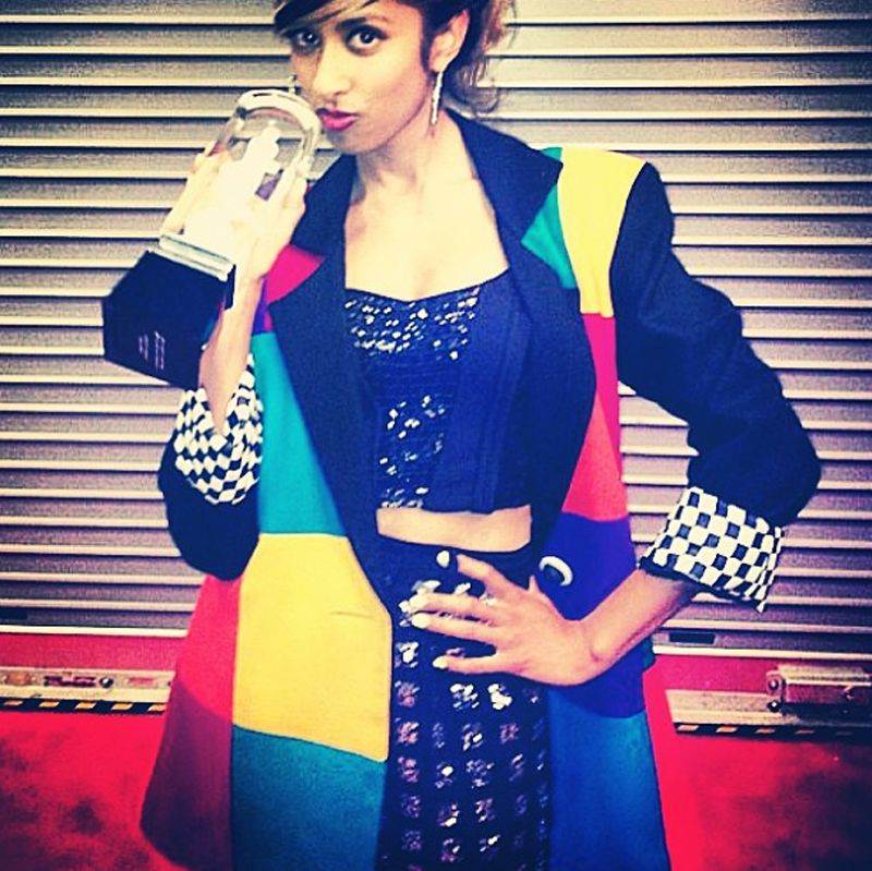 Anjulie in Finders Keepers Moment In Time Pants at the Juno Awards with the dance recording of the year award