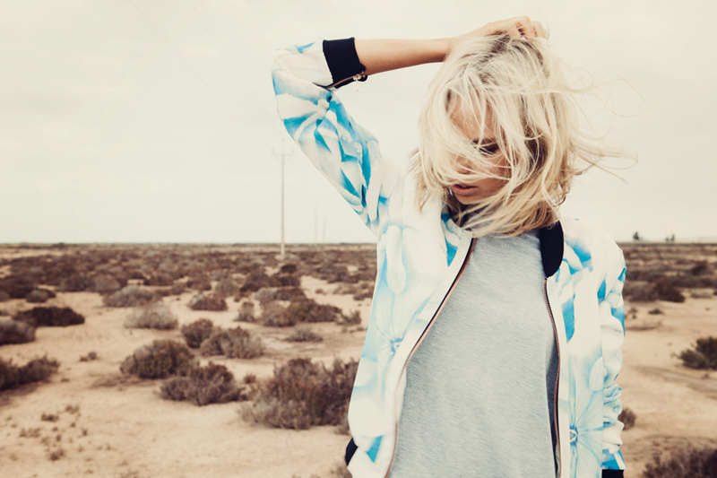 Finders Keepers Field of Dreams Runaway Bomber Jacket in rose print blue & Wake Up Call Dress in grey marle 2