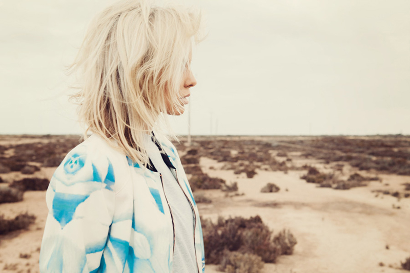 Finders Keepers Field of Dreams Runaway Bomber Jacket in rose print blue & Wake Up Call Dress in grey marle