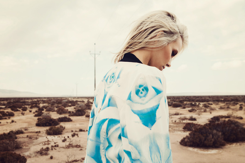 Finders Keepers Field of Dreams Runaway Bomber Jacket in rose print blue