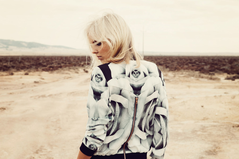 Finders Keepers Field of Dreams Runaway Bomber Jacket in rose print monochrome charcoal