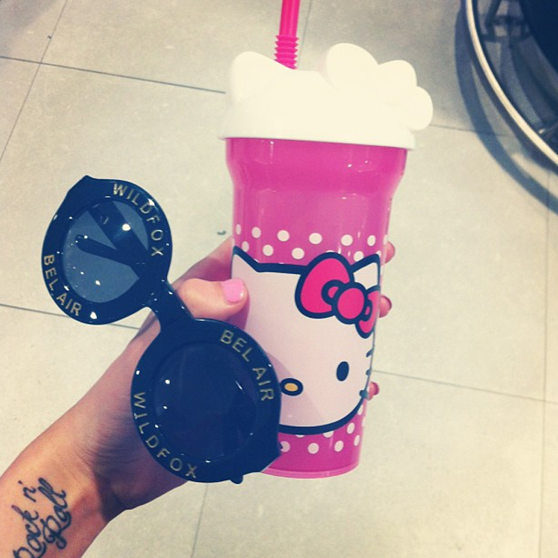 @itsawildworldbaby wildfox bel air sunglasses hello kitty cup instagram shot