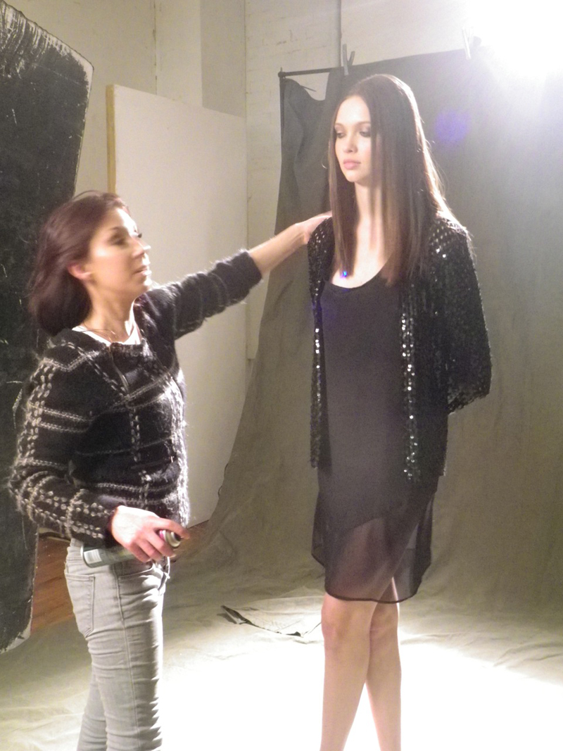 behind the scenes juli molnar stylist storm shoot LNA hair and make up artist