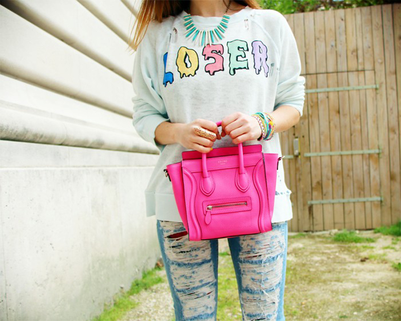 marie luv pink fashion blog WILDFOX loser jumper garden