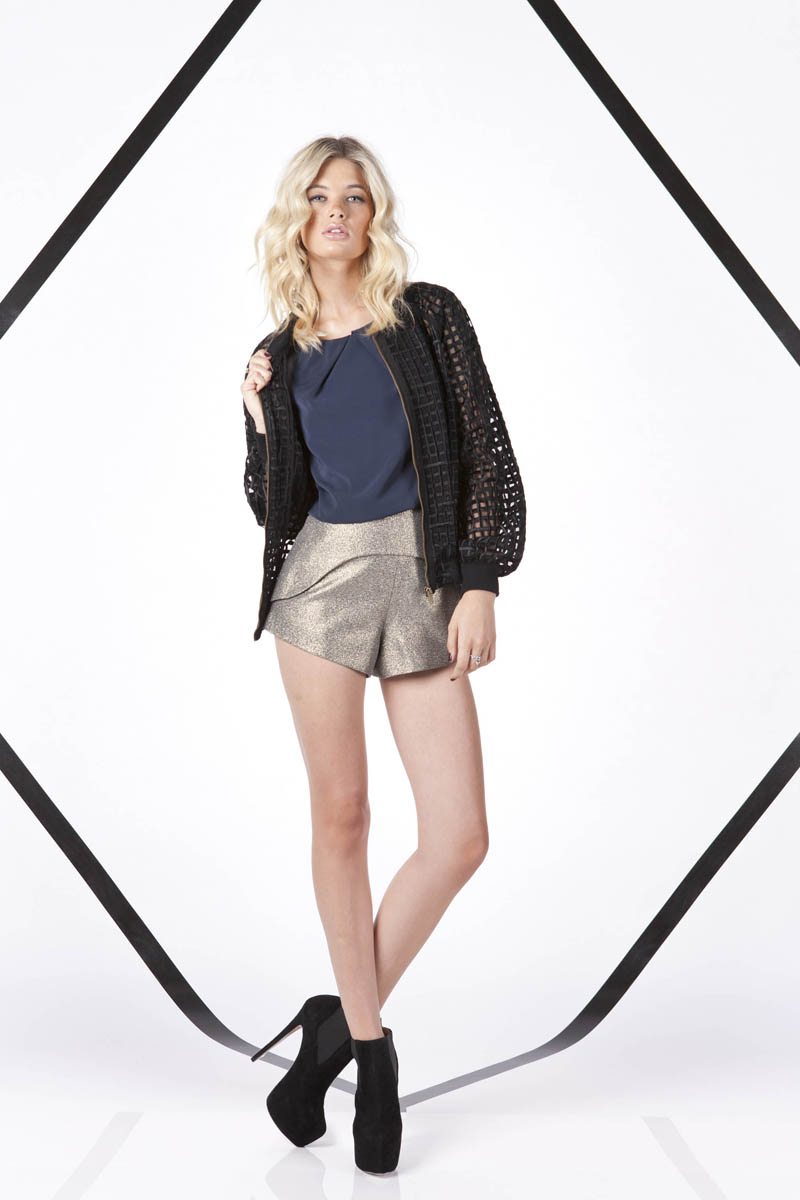 Finders Keepers A Beautiful Ordinary Santa Monica Check Bomber and White Moon Top and Paper Aeroplane Shorts