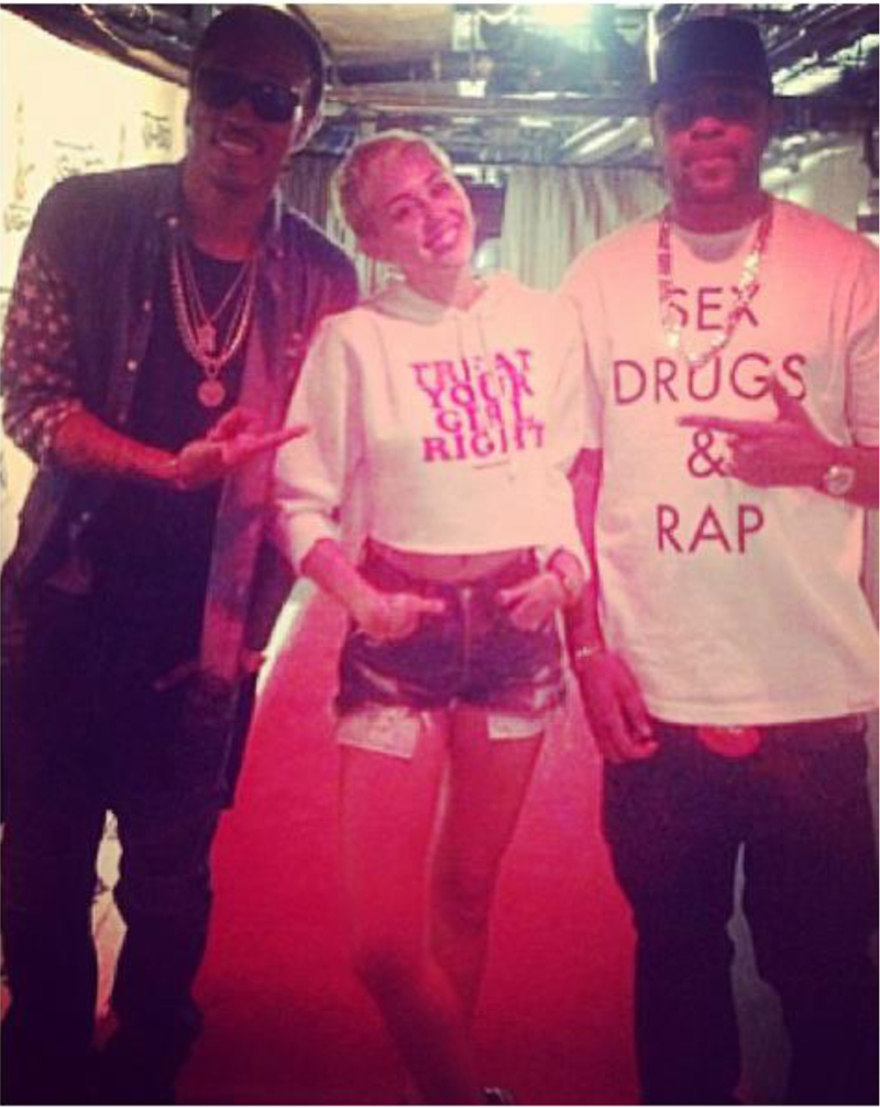 miley cyrus dimepiece treat  your girl right hoodie next to rapper future