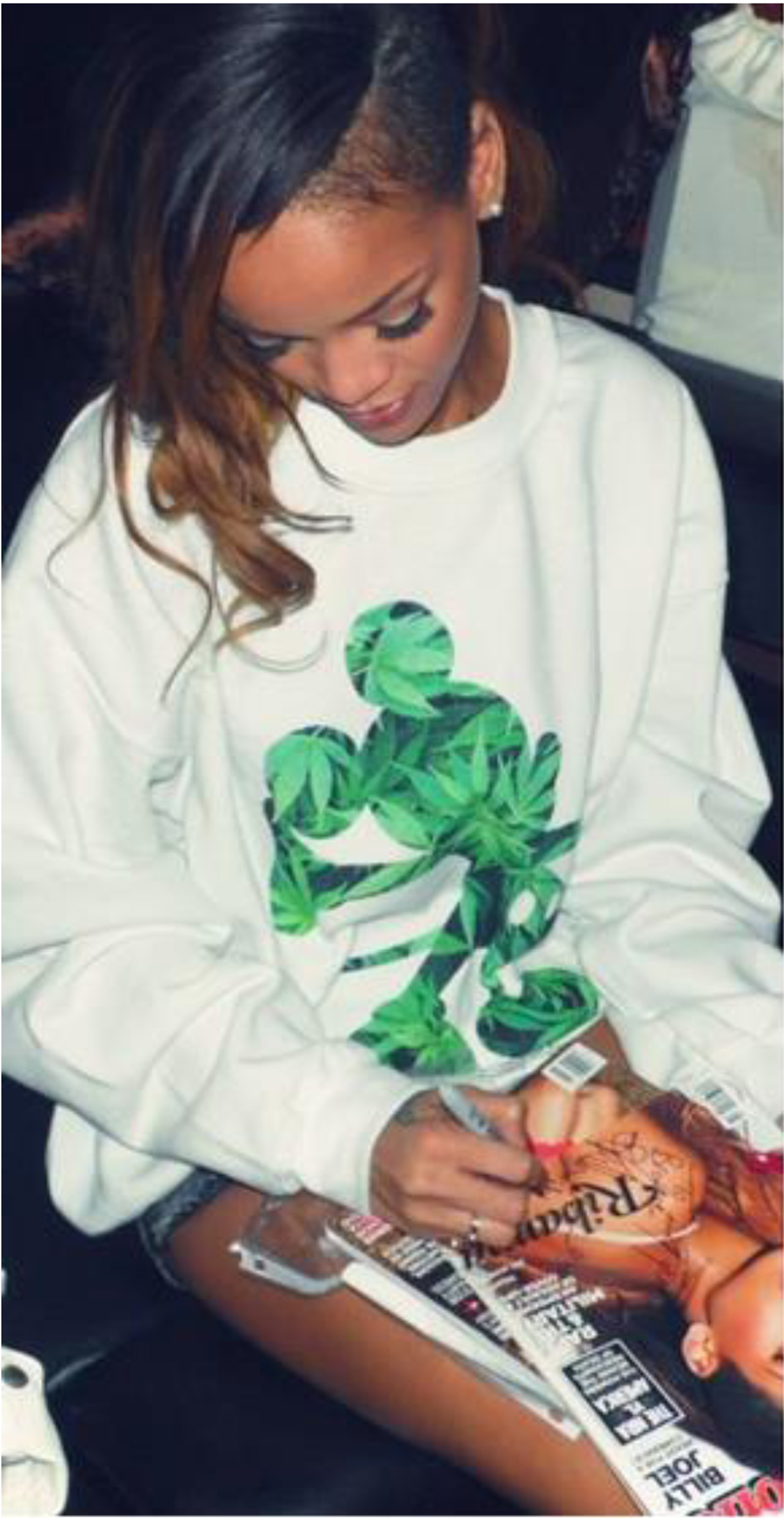 rihanna dimepiece sweater hemp mickey mouse