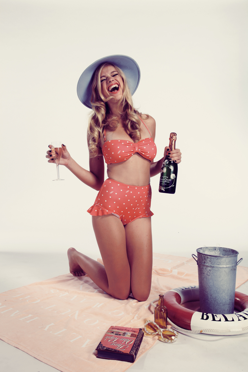 Wildfox Swim Summer 2013 Pin-Up Hearts Bandeau Top and High-Waist Ruffle Brief 2