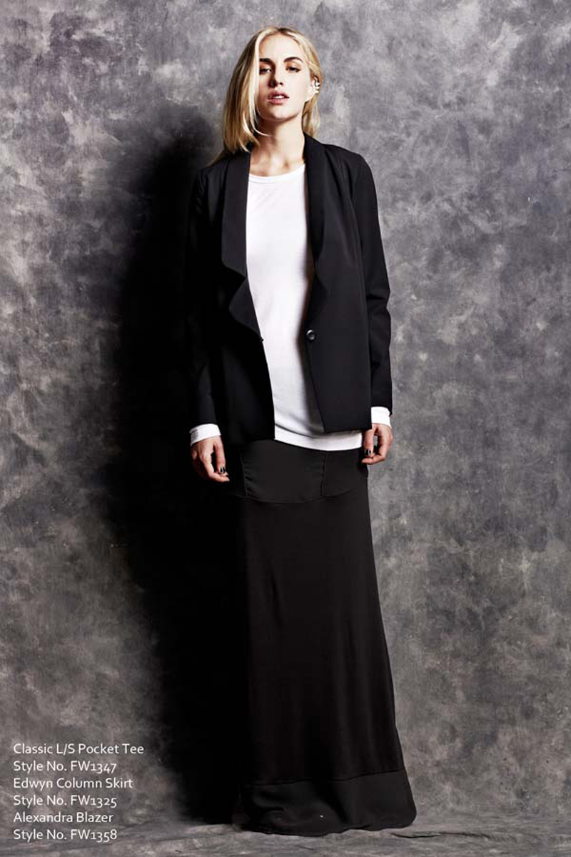 Classic Long Sleeve Pocket Tee and Edwyn Column Skirt and Alexandra Blazer LNA Fall 1 2013