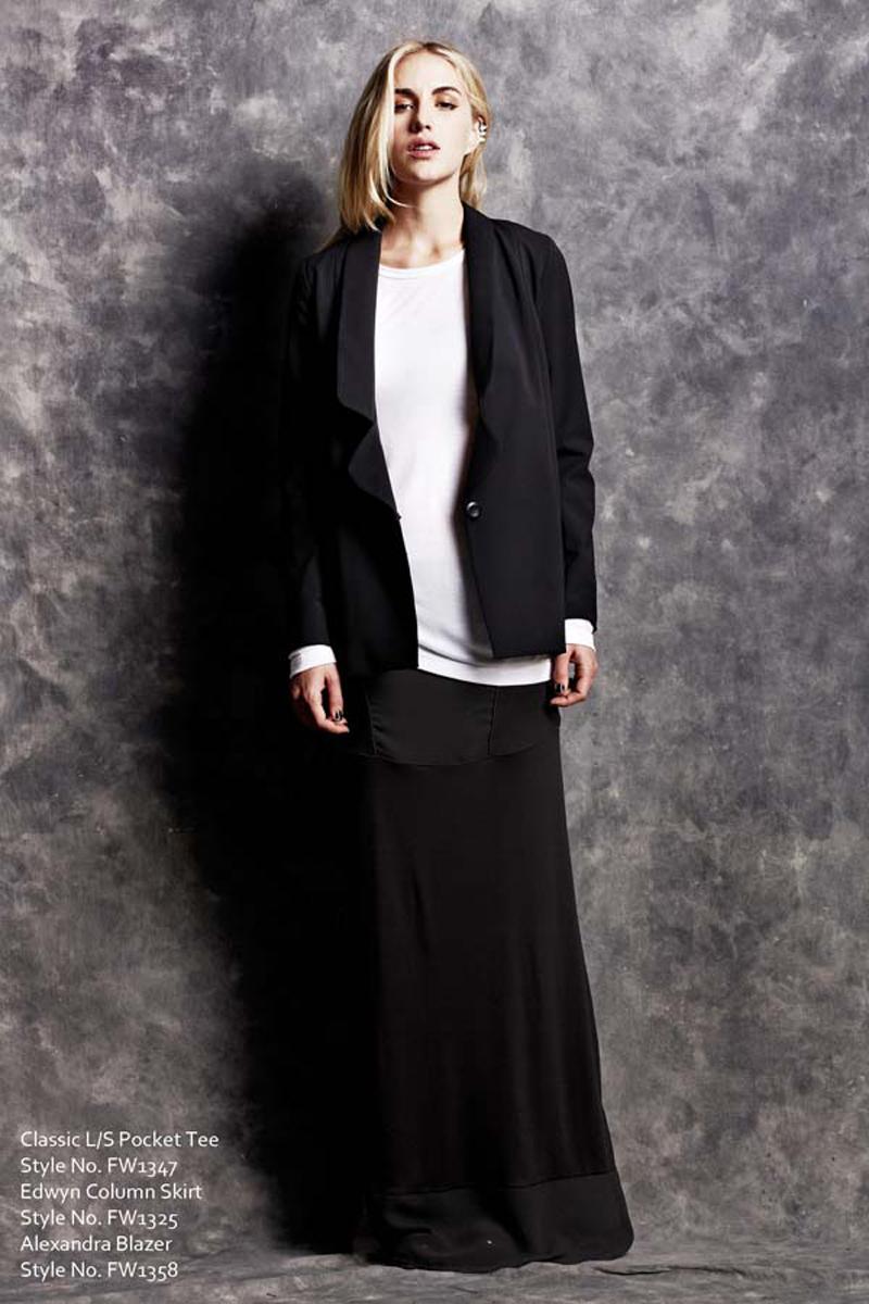 Classic Long Sleeve Pocket Tee and Edwyn Column Skirt and Alexandra Blazer LNA Fall 1 2013