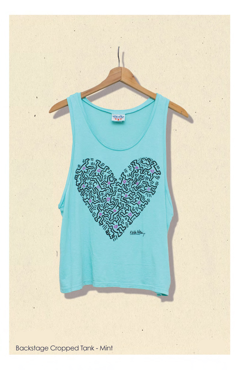 keith haring junk food clothing tee backstage cropped tank in mint