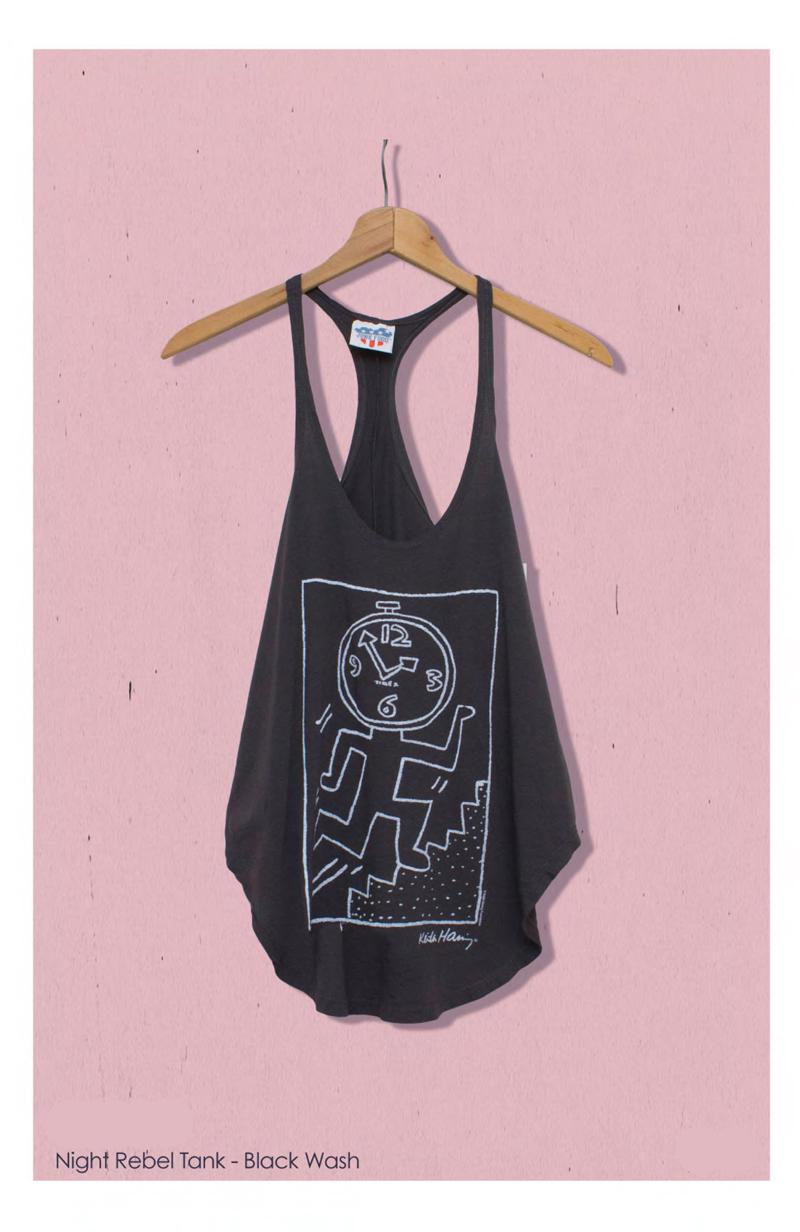 keith haring junk food clothing tee night rebel tank in black wash
