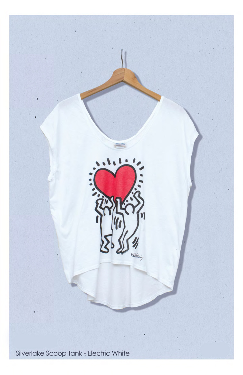 keith haring junk food clothing tee silverlake scoop tank in electric white