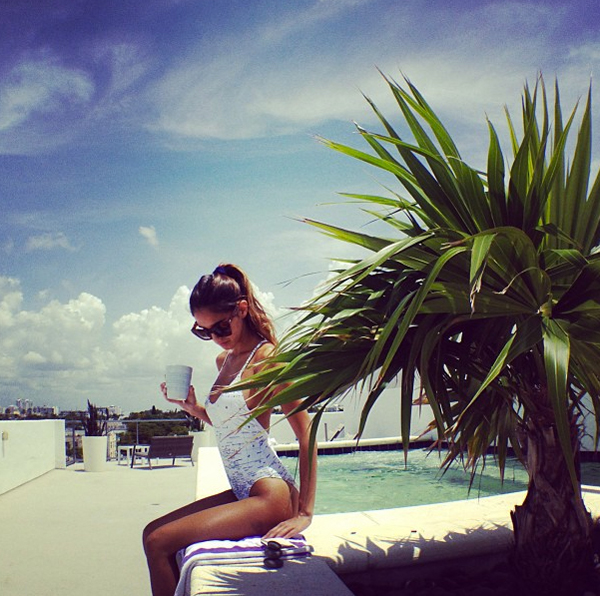 Model Ashley Sky in the Wildfox Swim Ocean Explorer Classic One Piece