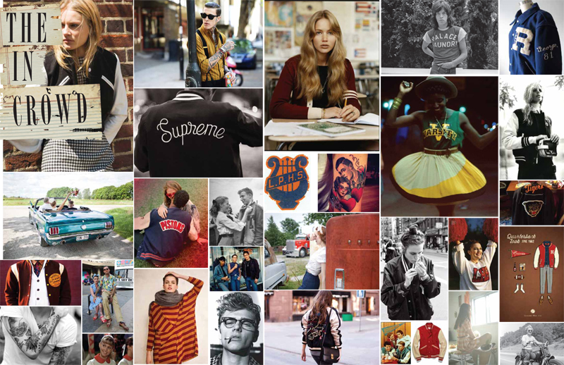 Moodboard for 90s & 50s inspired Junk Food Fall 2013 Collection