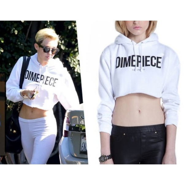 Miley Cyrus wearing the Dimepiece Logo Cropped Hoodie