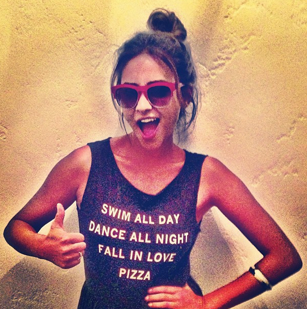 Swim all Day, Dance all Night, Fall in Love, Pizza: Shay Mitchell in Wildfox Clubfox sunnies and a Wildfox tee