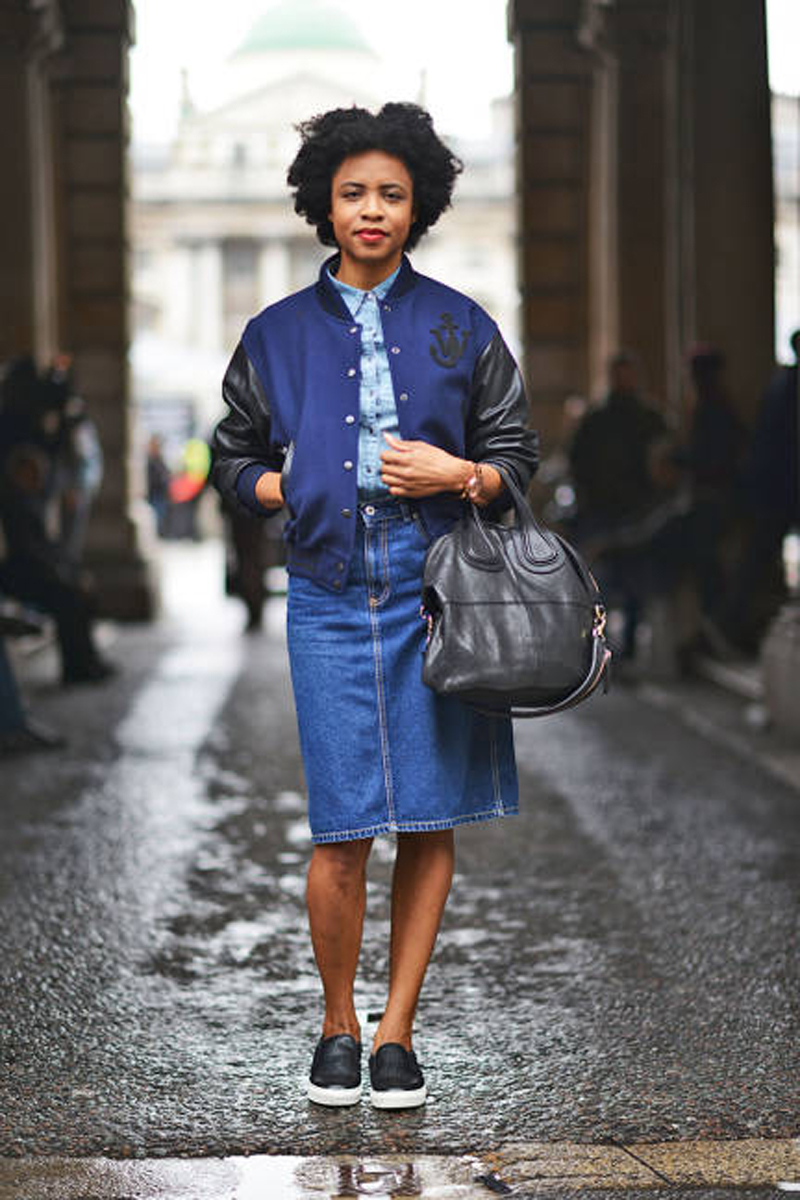 Denim skirt, Givenchy bag and bomber jacket (like Finders Keepers).