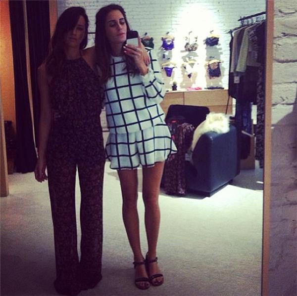 Gala Gonzalez uploaded a selfie wearing the Finder Keepers Strange Ways Sweatshirt and Midnight Lover Shorts, hugging fashion designer Michelle Goldie