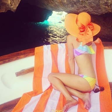 Blogger Gary Pepper Girl in Wildfox Swim from 2014 Cruise Collection whilst on holiday