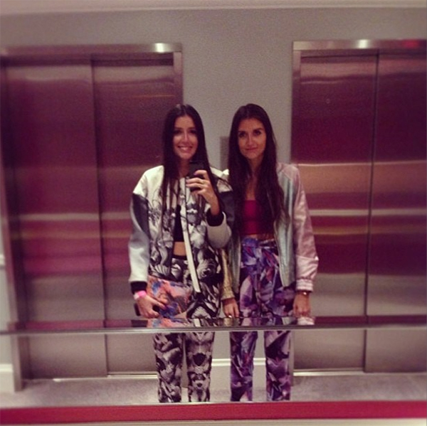 Jess & Steff from How Two Live wearing Finders Keepers pants (left)
