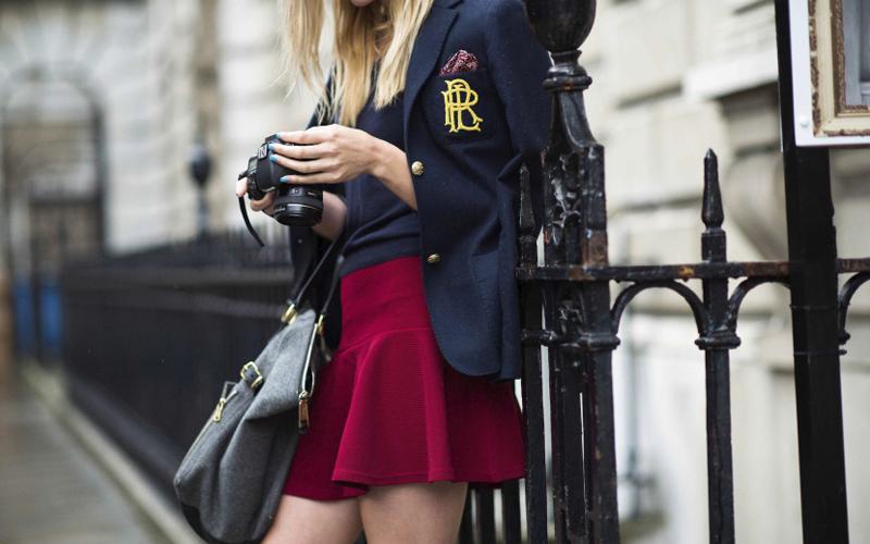 School girl look. Emblem reminding us of LNA Fall.