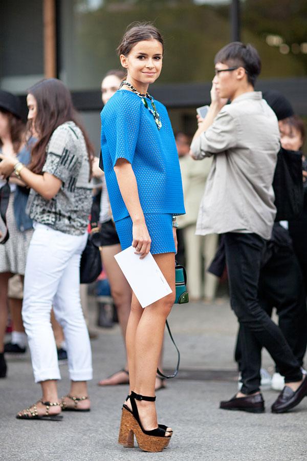 Miroslava Duma working the neoprene matchy matchy look
