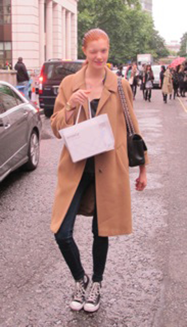 model off duty at london fashion week winking with skinade bag